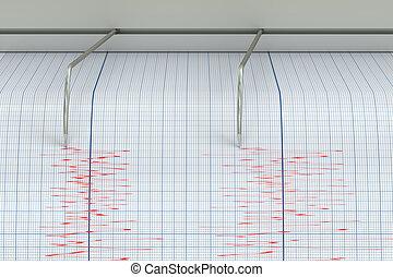 sismógrafo, terremoto, actividad, concepto, 3D,...