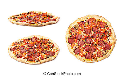 Whole pepperoni pizza isolated