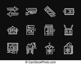 White simple line online shopping vector icons