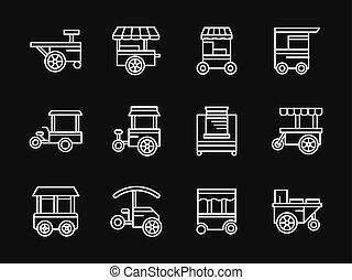 Street food white simple line design vector icons