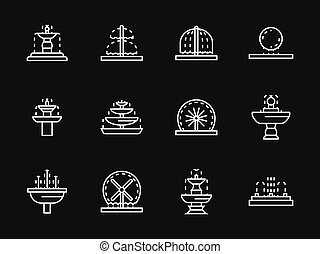 White line fountains architecture vector icons - Small...