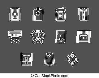 Climatic appliances white simple line vector icons -...