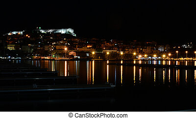 Night panoramic view of Kavala, Greece