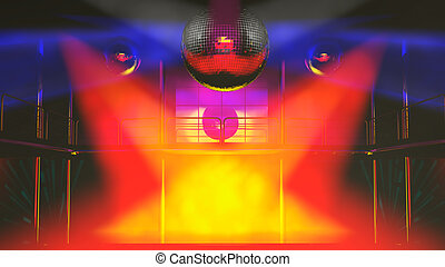 Night club discotheque colorful lights - Night club interior...