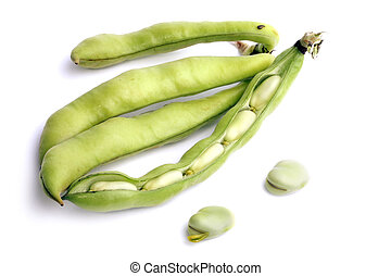 Broad bean pods and two beans