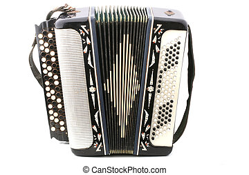 Old russian accordion closeup isolated