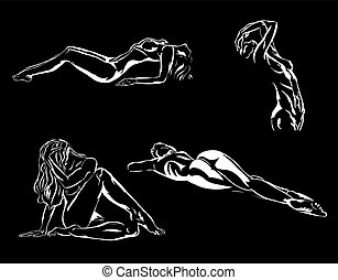 Nude art - Vector - nude art,white with black background