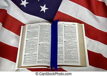 OPen Book - Open Holy Bible on American flag