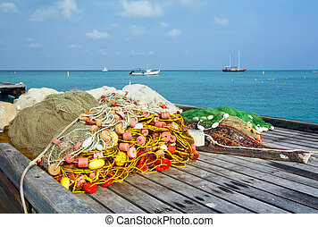 Fishing nets on a dock