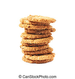 Pile stack of oatmeal cookies isolated over the white...