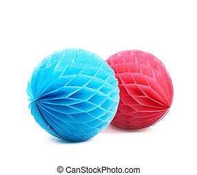 Honeycomb pom-pom balls decoration isolated - Blue and red...