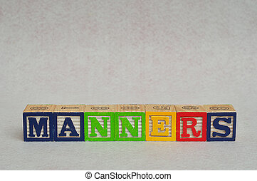 Manners - The word manners spelled with colorful alphabet...
