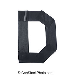 Letter D symbol made of insulating tape pieces, isolated...