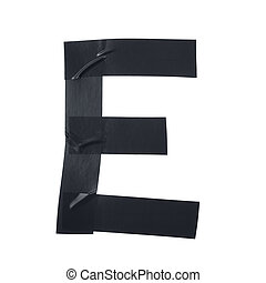 Letter E symbol made of insulating tape pieces, isolated...