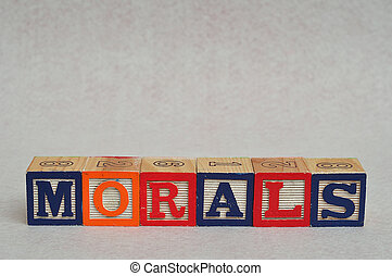 Morals - The word morals spelled with colorful alphabet...