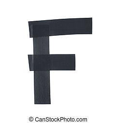 Letter F symbol made of insulating tape pieces, isolated...