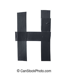 Letter H symbol made of insulating tape pieces, isolated...