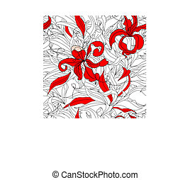 Floral seamless wallpaper with red