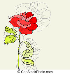 Greeting card with Rose flower