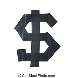 Dollar symbol made of insulating tape isolated over the...