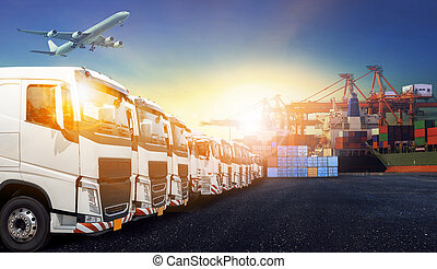container truck - container truck ,ship in port and freight...