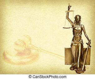 estatua, de, Justicia, en, viejo, papel, Plano de fondo,...