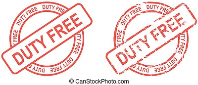 red stamp duty free text isolated set in format