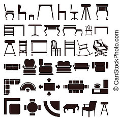 Icons of furniture of brown colour. A vector illustration