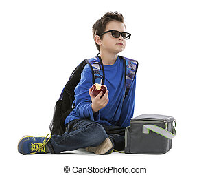 boy wearing back pack - young boy student with backpack and...