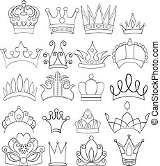 Set of Doodle Crowns and Tiaras