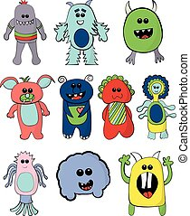 Set of Cute Colorful Monsters