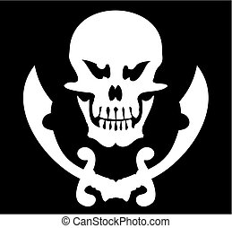 Skull and sabres on a black background. A vector illustration