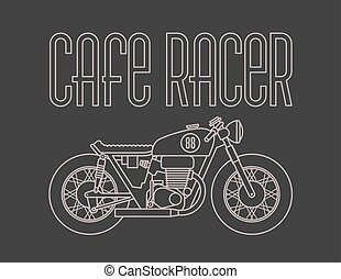 Cafe Racer Motorcycle Design - Heavy outline vector...