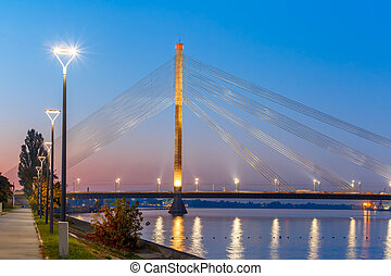 Cable-stayed bridge and Daugava, Riga, Latvia - Cable-stayed...