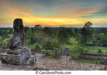 Angkor Temples - Sunset at Prasat Pre Roup within Angkor...