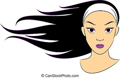Girl in the Wind - Vector Illustration of a Girl whose Hair...