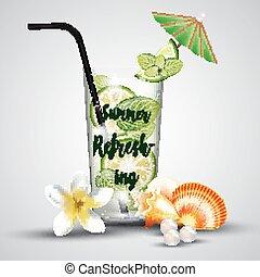 Summer refreshing tropical lemonade - Illustration of Summer...