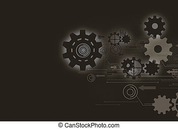 futuristic technology background,gear wheel on circuit board