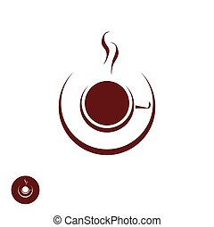 Coffee shop logo template with abstract steam - Coffee shop...