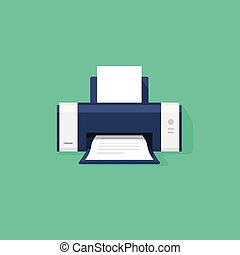 Printer flat vector icon with shadow, printer with paper a4...