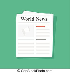 Newspaper folded vector icon front page top view - Newspaper...