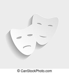 Theater icon with happy and sad masks Paper style icon with...