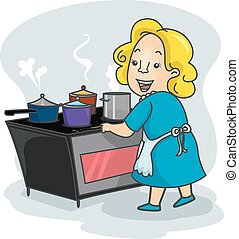 Girl Mom Induction Stove Cook - Illustration of a Mother...