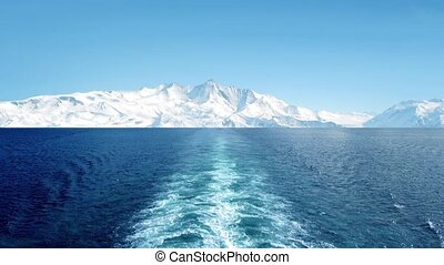 View From Ship In Frozen Landscape - POV from ship sailing...