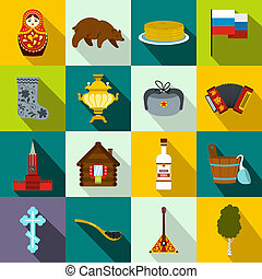 Russia flat icons set for web and mobile devices