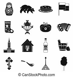 Russia black simple icons set isolated on white background