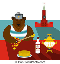 Russia flat stereotype - Russia stereotype concept in flat...