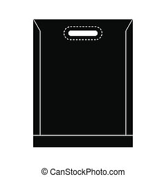 Blank plastic bag icon - Blank plastic bag black simple icon...