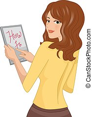 Girl Tablet How To Tutorial - Illustration of a Girl Viewing...