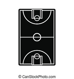 Basketball court field icon - Basketball court field black...